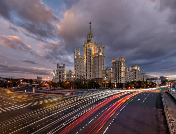 Skyscraper on Kotelnicheskaya Embankment and Traffic Trails at D