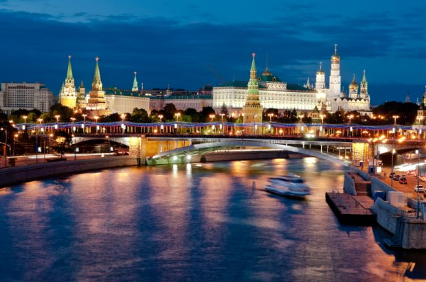 Russian Moscow Kremlin, bridge and Moscow river