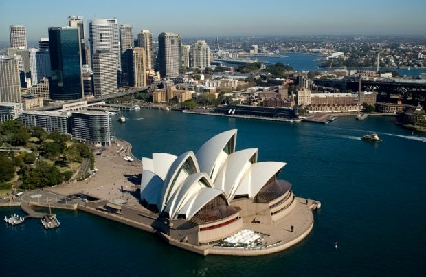 NSW Sydney Australia aerial of city skyline with Circular Quay  opera house and sydney harbour bridge 2004