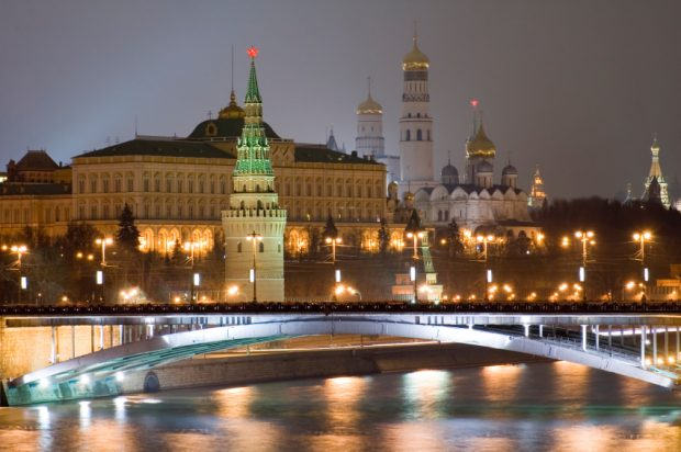 Russian Moscow Kremlin. bridge and Moscow river