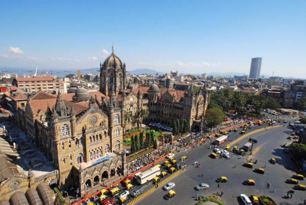 Bird's eyeview of Chatrapati Shivaji Terminus and surrounding heritage precinct in South Mumbai. Earlier known as Victoria Terminus it is a terminal and head- quarters for Central Railway. It has been declared as UNESCO World Heritage Site. Copy space.