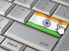 Business concept mouse cursor pressing India enter key on metallic keyboard