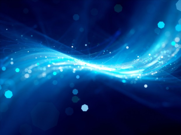 Blue glowing new technology background with particles, computer generated abstract background