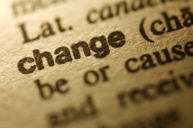 "Selective focus on the word "" Change "",shot with very shallow depth of field."