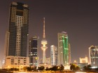 Skyline of Kuwait City illuminated at night, Middle East