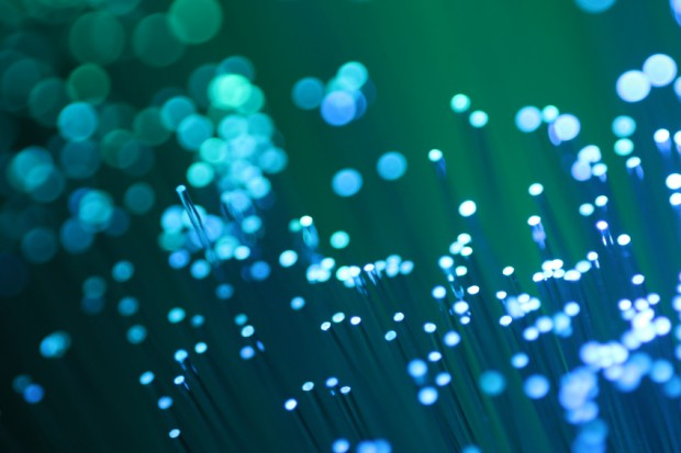 Detail of fiber optic blue and green