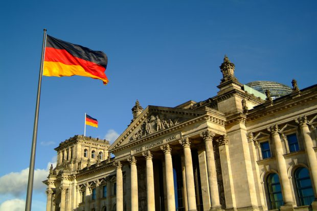 Berlin Reichstag with german flags
