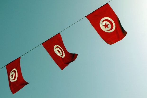 Beautiful view of Tunisia flags. TUNISIA.