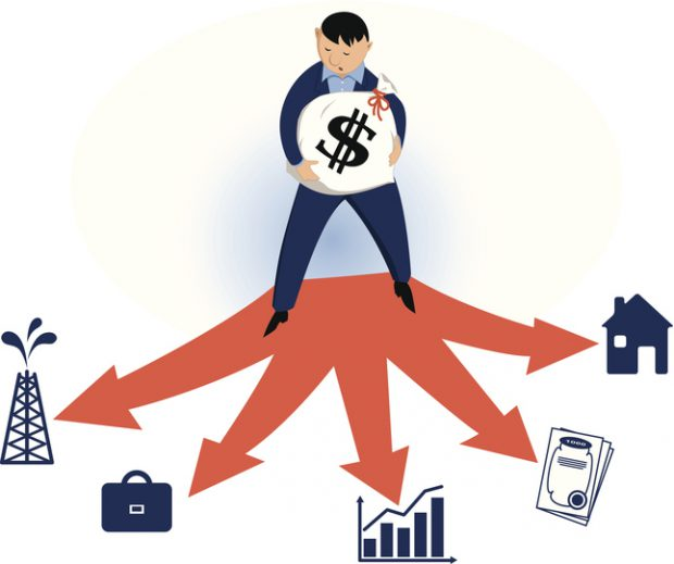 Man holding a money bag, considering different investing options, vector cartoon, no transparencies