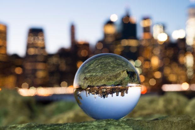 Crystal ball with reflection of Manhattan.