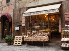 Arezzo, Italy  - January 9, 2016: Antica Bottega Toscana, one of the oldest shops of the city of Arezzo where are sold the most typical alimentary products of Tuscany.