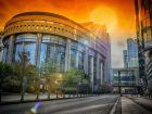 European Parliament building at summer orange sunset. Brussels, Belgium