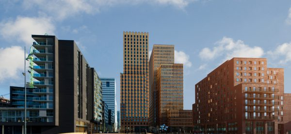 Amsterdam business district with office buildings at Amsterdam Zuid, Amsterdam, Netherlands.