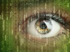 Womans eye with futuristic digital data concept for technology, virtual reality headset, biometric retina scan, surveillance or computer hacker security