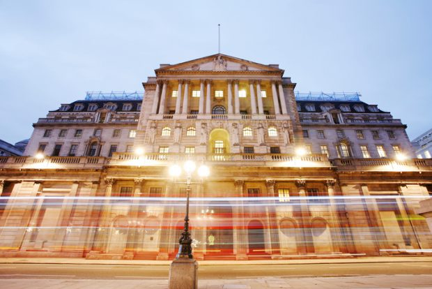The Bank of England, City of London, UK, at night