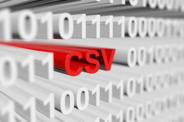 csv as a binary code with blurred background 3D illustration