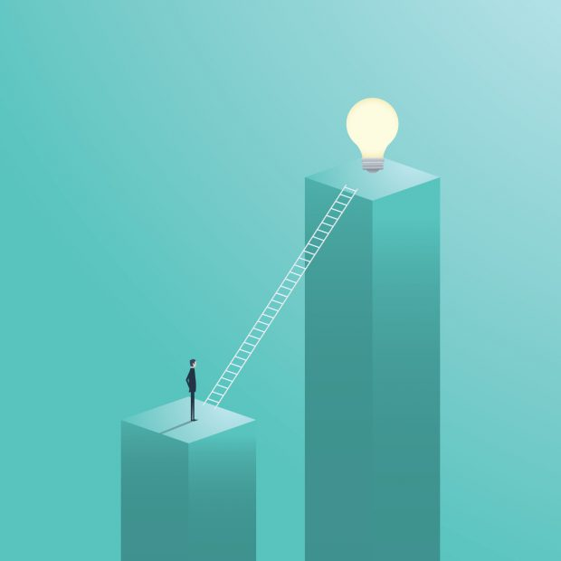 Creative solution business vector concept with businessman climbing on ladder to a light bulb. Eps10 vector illustration.