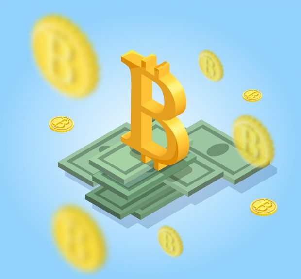 Bitcoin isometric isolated icons, cryptocurrency golden coin, digital money objects, 3d vector illustration of modern financial symbols, wealth concept