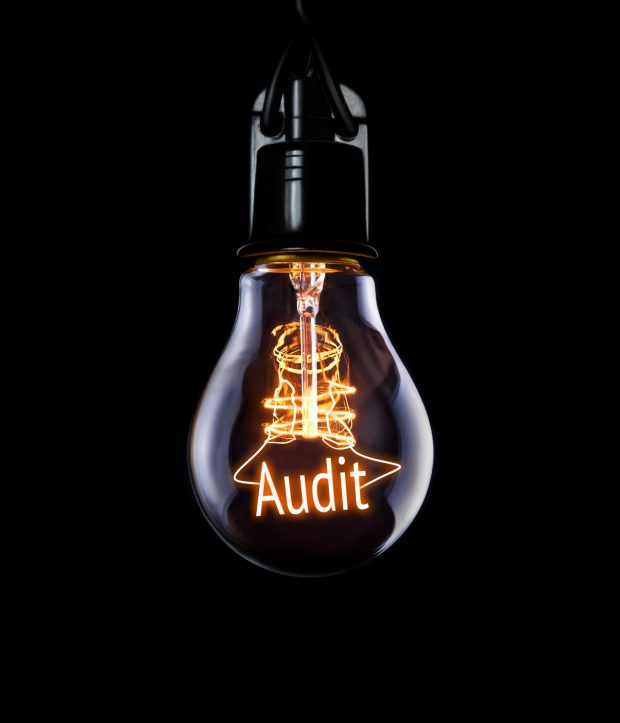 Hanging lightbulb with glowing Audit concept.