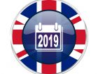 new year 2019 british design icon - round silver metallic border button with Great Britain flag