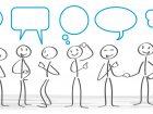 Besprechung, Kommunikation, besprechen, gespräch, beraten, Meeting, diskutieren, Diskussion, Team, Teambesprechung, Brainstorming, austausch, Smalltalk, erzählen,  kommunizieren, Sprechblasen, reden, denken, Banner, Gruppe, chatten, debatte, debattieren, dialog, teamwork, treffen, unterhaltung, verbal, zusammenarbeit, strichmännchen