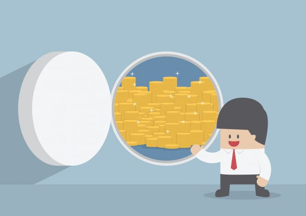 Businessman and opened vault door with gold coins, VECTOR, EPS10