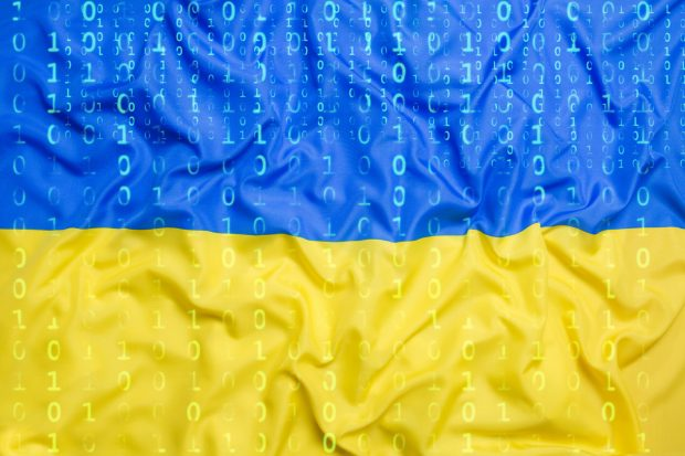 Data protection, binary code with Ukraine flag