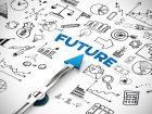 Future (Zukunft) als Ziel mit Icons als Planung Konzept