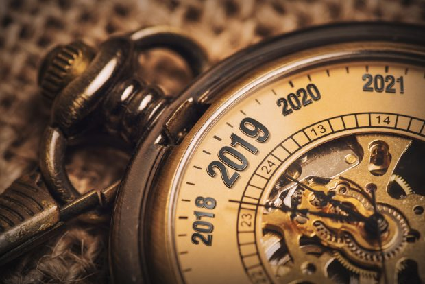 New year concept for 2019 with brow pocket watch.