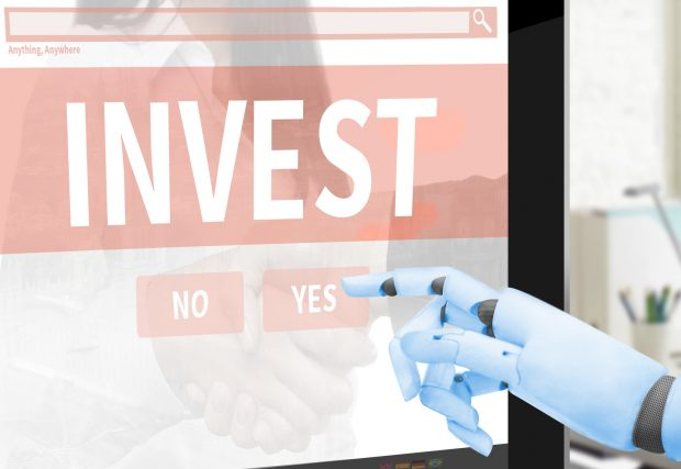 Robot cyborg making investment - artificial intelligence